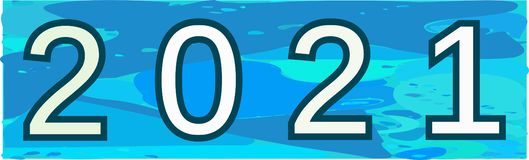 Image for the year 2021 isolated, colors royalty free illustration