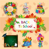 Colorful image with different school objects Royalty Free Stock Image