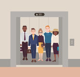 Colorful image illustrating group of people standing in open elevator. Men and women wearing business suit in classical. Cloth. Flat cartoon vector illustration Stock Images