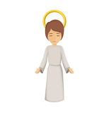 Colorful image with jesus boy with open hands Royalty Free Stock Photo