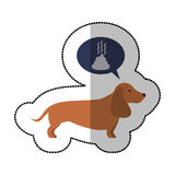 Colorful image middle shadow sticker with dachshund dog thinkin poop Royalty Free Stock Photo