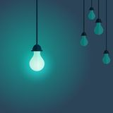 Colorful image of switching on lamp on the front and switched of Royalty Free Stock Images
