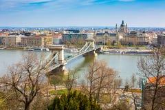 Colorful image of Szechenyi Chain Bridge over Danube, Budapest, Hungary Stock Photography
