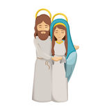 Colorful image with virgin mary and jesus embraced Royalty Free Stock Photo