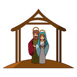 Colorful image with virgin mary and saint joseph embraced under manger and middle shadow Royalty Free Stock Photos