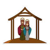 Colorful image with virgin mary and saint joseph embraced under manger and middle shadow Stock Images