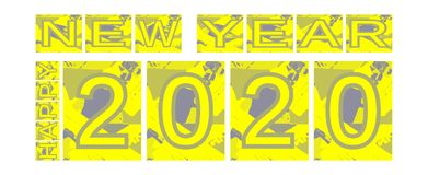 Colorful happy new year 2020 background stock image