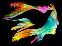 Colorful Imagination. Bird of Mind series. Creative arrangement of woman and bird profile executed with colorful paint as a concept metaphor on subject of Stock Photo