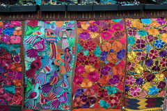 Colorful imported textiles. On display in Santa Fe, New Mexico stock photos