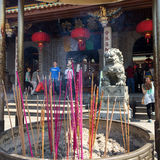 Colorful incense in a burner in front of Nanputuo Buddhist Temple in Xiamen city, China Royalty Free Stock Image
