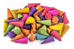 Colorful incense cones on white background Royalty Free Stock Image