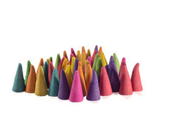 Colorful incense cones with white background Royalty Free Stock Image