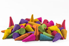 Colorful incense cones with white background ,selection focus po Stock Images