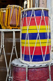 Colorful indian drums in street market Stock Photography