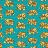 Colorful Indian Elephant pattern. Ethnic Indian Elephant pattern - detailed and easy to edit Royalty Free Stock Images