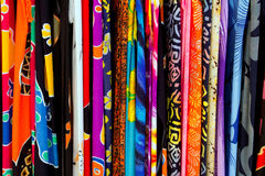 Colorful indian fabrics in a row Royalty Free Stock Image