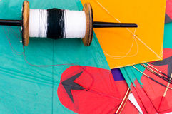 Colorful Indian kites and string Royalty Free Stock Images