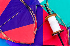 Colorful Indian kites and string Stock Image