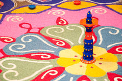 Colorful Indian kolam Royalty Free Stock Photography