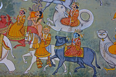Colorful indian mural in the fort a Stock Photos