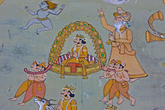 Colorful indian mural in the fort a Royalty Free Stock Photo