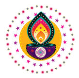 Colorful Indian pattern. With oil lamp Stock Image