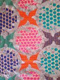 Colorful indian pattern fabric sequin. Colorful thread & sequin lace indian vintage pattern Stock Photos