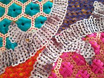 Colorful indian pattern fabric sequin. Colorful thread & sequin lace indian vintage pattern Stock Image