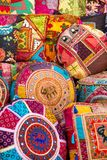 Colorful Indian pillows Stock Photography