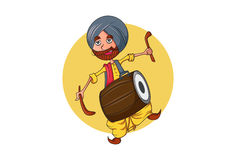 Colorful Indian Punjabi Sardar cartoon character with Dhol - a famous instrument in Punjab. Vector illustration. Isolated on white Background Stock Photography