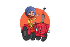 Colorful Indian Punjabi Sardar cartoon character on tractor in Punjab. Vector illustration. Isolated on white Background Royalty Free Stock Photo
