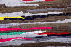 Colorful, indian rug made ��from scraps of fabric Royalty Free Stock Image