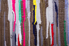 Colorful, indian rug made from scraps of fabric Royalty Free Stock Image