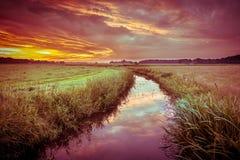 colorful Indian summer river landscape in vintage colors Stock Image