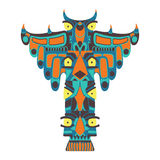 Colorful indian totem. Vector illustration on white background Royalty Free Stock Photo