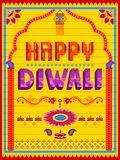 Colorful Indian truck painting on Happy Diwali card for festival of light of India. Vector illustration of colorful Indian truck painting on Happy Diwali card