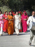 Colorful Indian women form a wedding procession Royalty Free Stock Images