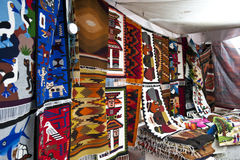 Colorful indigenous market of Otavalo Royalty Free Stock Photos