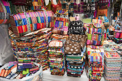 Colorful indigenous market of Otavalo Stock Photos