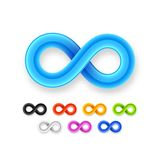 Colorful infinity symbol set icon from glossy wire Royalty Free Stock Images