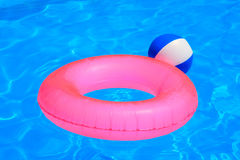 Colorful inflatable ball and round tube Stock Image