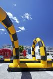 Colorful inflatable go cart track. On a sunny day in Puerto Banus plaza, Spain stock photography