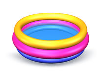 Colorful inflatable pool. On a white background stock illustration