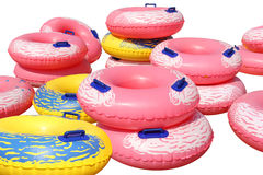 Colorful inflatable swim rings Royalty Free Stock Image