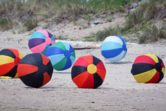 Colorful Inflated Beach Balls at a Kite Festival Stock Image