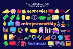 Colorful Infographic Business Economic Icons Set. Of financial elements in sketch style on dark background isolated vector illustration Royalty Free Stock Photo