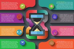 Colorful infographic on dark background. stock illustration