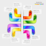 Colorful infographic elements for Business. Creative colorful infographic arrows with web symbols on grey background for Business Stock Image