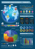 Colorful Infographic Elements with global map. Royalty Free Stock Photos