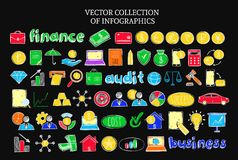 Colorful Infographic Financial Sketch Icons Set. Of business audit elements on dark background  vector illustration Stock Photo